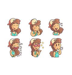 cute teenage girl in baseball cap showing various vector image