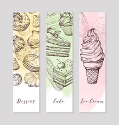 dessert art banners with hand drawn food ice vector image