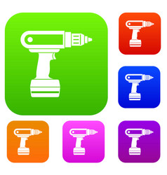 electric screwdriver drill set color collection vector image
