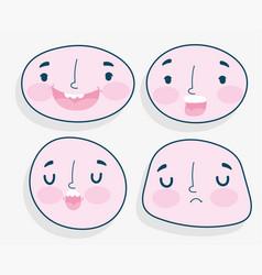 emojis kawaii cartoon faces human expression set vector image