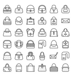 fashion bag various type such as frame bag tote vector image