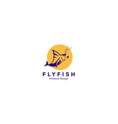 Ferocious fish shape sea logo design icon symbol vector