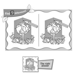 find 9 differences game paper vector image