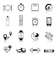 Fitness Tracker Black Icons vector image