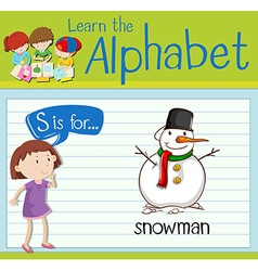 Flashcard letter S is for snowman vector image