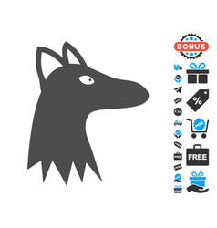 Fox head flat icon with free bonus elements vector