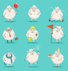 funny cute little sheep cartoon characters set for vector image