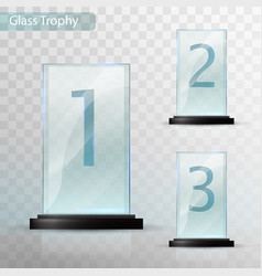 Glass trophy award set of cups - first second vector