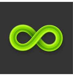 Green infinity symbol icon from glossy wire with vector