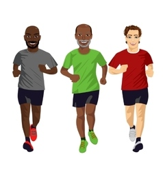 Group of male runners exercising vector