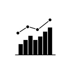 growing statistic black glyph icon vector image