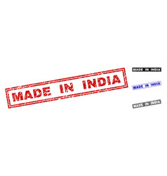 Grunge made in india textured rectangle watermarks vector
