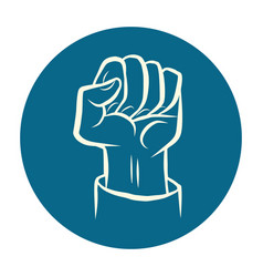 Hand fist fight protest gesture vector