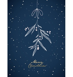 Handwritten Christmas with hanging mistletoe Night vector image