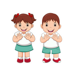 happy little school kids cartoon vector image