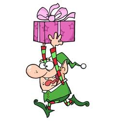 Happy Santa Elf Runs With Gift vector image