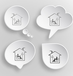 Home reading White flat buttons on gray background vector image