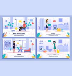 Housekeeping activities flat banners set vector