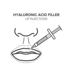 Hyaluronic acid filler lip injections vector
