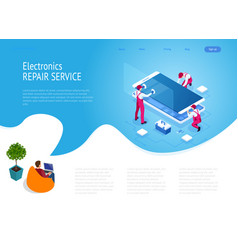 Isometric smartphone repair service concept vector