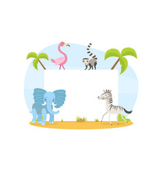 jungle animals with blank banner elephant zebra vector image