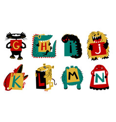 kids alphabet with cute colorful monsters vector image