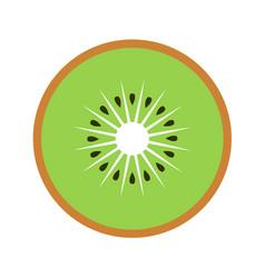 kiwi fruit slice closeup icon green round piece vector image