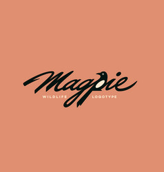 Magpie lettering logo vector
