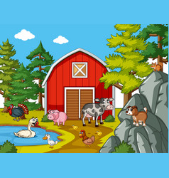 Many farm animals in the farm vector