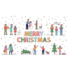 Merry christmas poster with people in wintertime vector