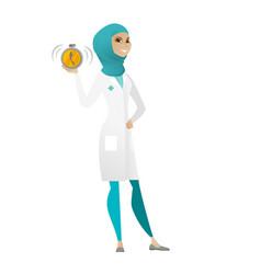 Muslim doctor holding alarm clock vector