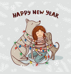 new year card with girl and dogs with snow vector image