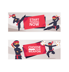 Ninja characters showing different actions vector