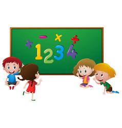 numbers and kids at school vector image