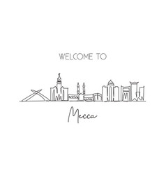 One continuous line drawing mecca city skyline vector