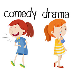 opposite words for comedy and drama vector image
