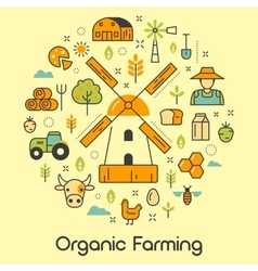 Organic Farming Line Art Thin Icons vector