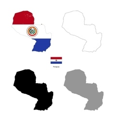 Paraguay country black silhouette and with flag on vector image