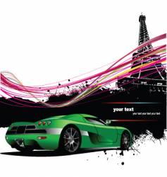 Paris with car vector image vector image