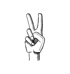 Peace sign made by two fingers vector