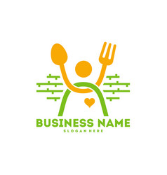 People with fork and spoon logo happy food logo vector