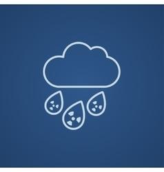 Radioactive cloud and rain line icon vector image