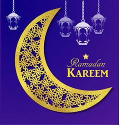 Ramadan kareem glittering greeting card vector