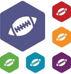 Rugby ball hexagon icon set vector