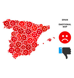 Sadness spain map composition of sad emojis vector