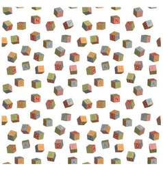 Seamless pattern toy blocks alphabet vector image