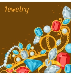 Set beautiful jewelry and precious stones vector