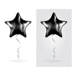 set black star foil balloons on transparent vector image