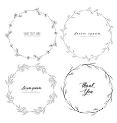 set botanical round frame hand drawn flowers vector image