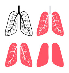 Set icon human lung isolated on white vector